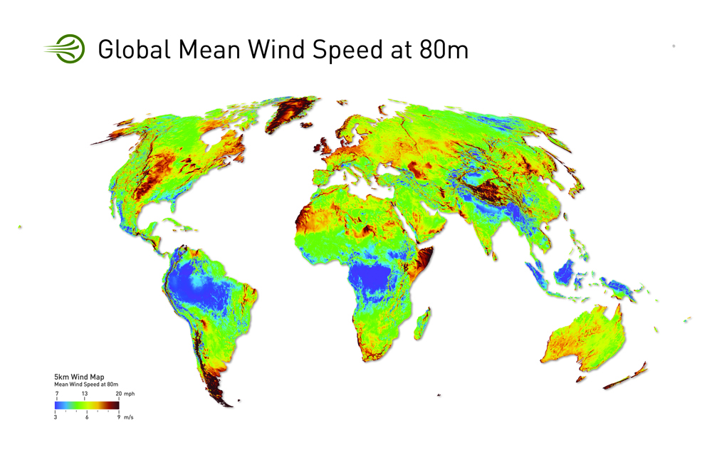 Global Wind Power Resource map